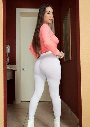 Yoga pants brunette